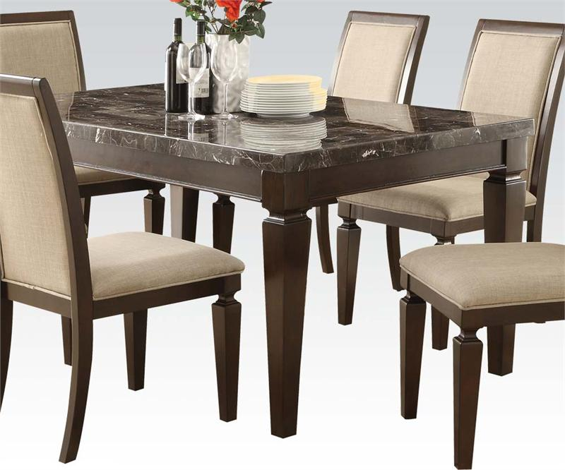 Black Marble Top Dining Set 70485 Acme 70487 Acme Real Marble Table
